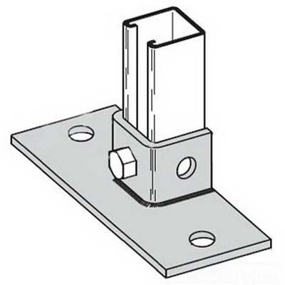 Cooper B-Line B279FL-ZN Rectangular Flush To Side 2-Hole Post Base; Steel, Zinc Electroplated