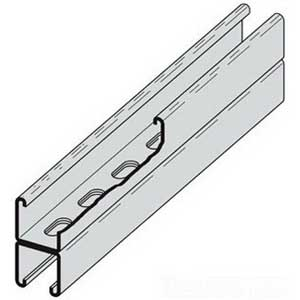 Cooper B-Line B22SHAGALV10 Back To Back Slotted Channel; 12 Gauge, 10 ft x 1-5/8 Inch x 1-5/8 Inch, 9/16 Inch x 1-1/8 Inch Slot Size, Type SH Slot, Steel, Pre-Galvanized