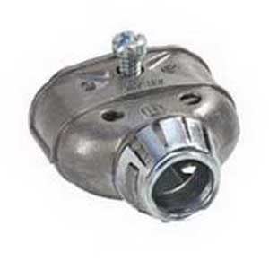 Bridgeport 3838ASP AC/MC/FMC Snap-In Duplex Connector With Insulated Throat; 3/8 Inch, Zinc Die-Cast