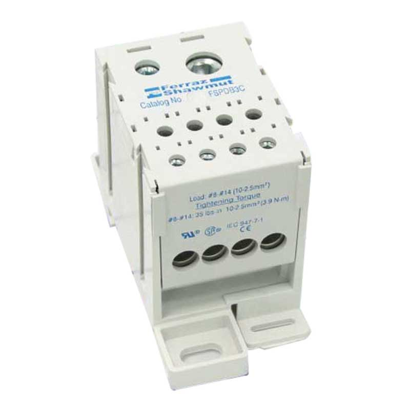Ferraz Shawmut FSPDB3A Finger-Safe Power Distribution Block 310 Amp  600 Volt  Snap-On DIN Rail Mount  Gray