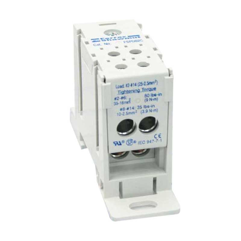 Ferraz Shawmut FSPDB2A Finger-Safe Power Distribution Block 175 Amp  600 Volt  Snap-On DIN Rail Mount  Gray