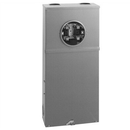 Cooper B-Line 127TB Meter Socket Enclosure; 600 Volt, 200 Amp, 3-Phase, NEMA 3R, Surface Mount, ANSI 61 Gray Acrylic Electrocoated