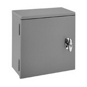 Cooper B-Line 12124RTC Telephone Cabinet With Knockouts; NEMA 3R, 12 Inch x 12 Inch x 4 Inch Depth, 18 Gauge Galvanneal Steel, ANSI 61 Gray, Acrylic Electrocoat Finish