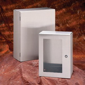 Cooper B-Line 24168-SDSS6 Single Door Enclosure; 16 Inch Width x 8 Inch Depth x 24 Inch Height, 16 Gauge 316L Stainless Steel, Wall Mount, Hinged Cover