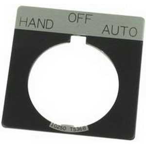 Eaton / Cutler Hammer 10250TS51 Square Legend Plate; HAND OFF AUTO Legend, Black