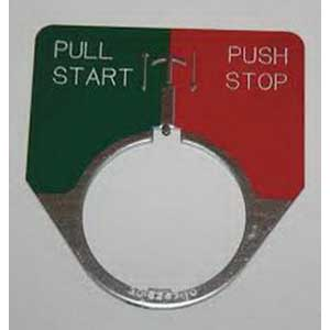 Eaton / Cutler Hammer 10250TR3 Jumbo Half Round Legend Plate PULL START/PUSH STOP Legend  Green/Red