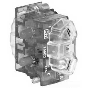 Eaton / Cutler Hammer 10250T1C Contact Block; 1 - 600 Volt AC/DC, Thermoplastic, Amber