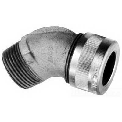 Cooper Crouse-Hinds CGD192 Non-Armoured Gland 45 Degree Connector 1/2 Inch- 0.125 - 0.250 Inch- Feraloy Iron Alloy-
