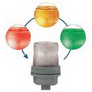 Edwards 105XBRIRGA24D XTRA-BRITE™ Chameleon™ 105XBRi Series Multi-Mode LED Beacon Light; 24 Volt DC, 0.150 Amp, Red/Green/Amber, 3/4 Inch NPT Conduit Mount