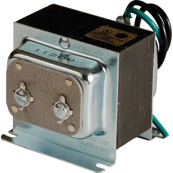 Edwards 599 590 Series Class 2 Low Voltage Transformer  120 Volt Ac Primary  24 Volt Ac At 40 Va
