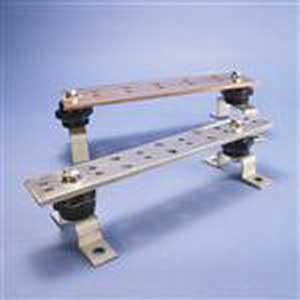 Erico TGBA18L10PT Telecom Grounding Busbar With Insulators & Brackets; 17-3/4 Inch Length x 2 Inch Width x 1/4 Inch Thickness, Copper