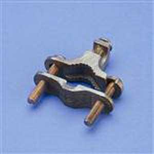 Erico EK17 Bronze Perpendicular Rebar Grounding Clamp; 1/2 - 1 Inch Rod, 12 - 25 mm Rebar, 10-2 AWG Solid and 8-4 AWG Rebar
