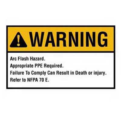 Ideal 44-894 NEC Arc Flash Protection Sign and Label; Warning, Self-Sticking Polyester, 7 Inch x 5 Inch, White/Yellow, Black Legend