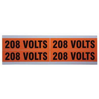 Ideal 44-355 Voltage and Conduit Marker Card; Plastic-Impregnated Cloth, Black On Bright Orange
