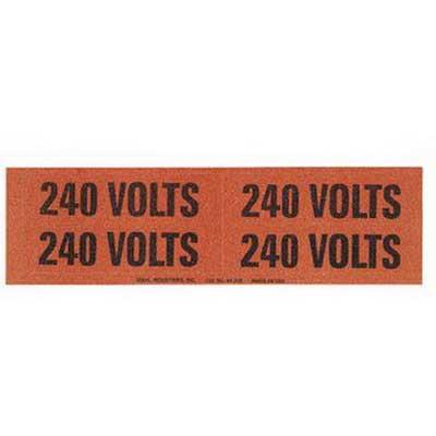Ideal 44-358 Medium Voltage and Conduit Marker Card; Plastic-Impregnated Cloth, Black On Bright Orange