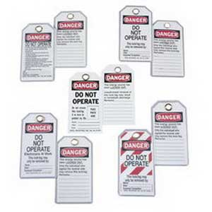 Ideal 44-849 Heavy Duty Lockout Tag; Economy Vinyl, Red Striped Background, Danger, DO NOT OPERATE