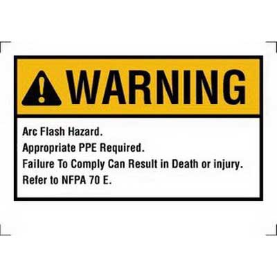 Ideal 44-895 NEC Arc Flash Protection Sign and Label; Warning, Self-Sticking Polyester, 7 Inch x 5 Inch, White/Yellow, Black Legend