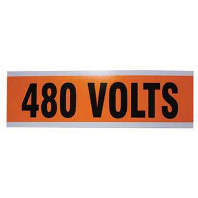 Ideal 44-314 Voltage and Conduit Marker Card; Plastic-Impregnated Cloth, Black On Bright Orange