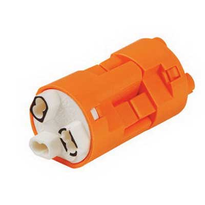 Ideal 30-383XJ PowerPlug® Model 103 Luminaire Disconnect; 600 Volt, 12-18 AWG Solid/12-14 AWG Stranded Line, 18 AWG Solid Ballast, 3-Wire, Orange