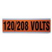 Ideal 44-295 Large Voltage and Conduit Marker Card; Plastic-Impregnated Cloth, Black On Bright Orange