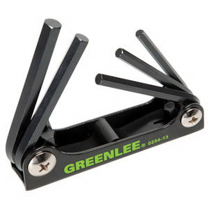 Greenlee 0254-13 Standard Folding Hex-Key Wrench Set; 3/16 - 3/8 Inch, 4-3/8 Inch Overall Length, 5 Pieces
