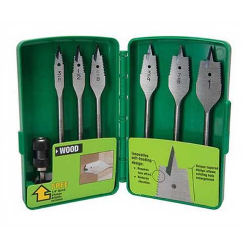 Greenlee 34AR-6 Self-Feeding Spade Drill Bit Kit; 3/4 x 6 Inch, Steel, 6 per Pack