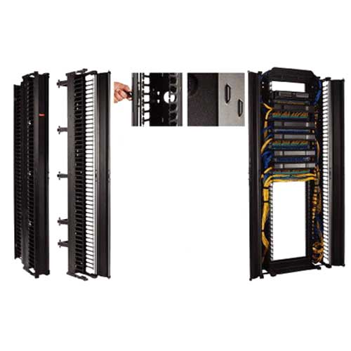 Hoffman DV6DF7 CableTek™ Double-Sided Finger Style Vertical Cable Manager; Rack Mount, 45-Rack Unit, Aluminum, RAL 9005 Black, Low-Gloss Light Textured Polyester Powder Paint