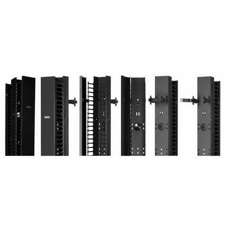 Hoffman EC6DF7 CableTek™ Double-Sided Finger Style Vertical Cable Manager; 45-Rack Unit, 14 Gauge Steel Channel, Aluminum Front Cover, RAL 9005 Black, Low-Gloss Light Textured Powder-Coated