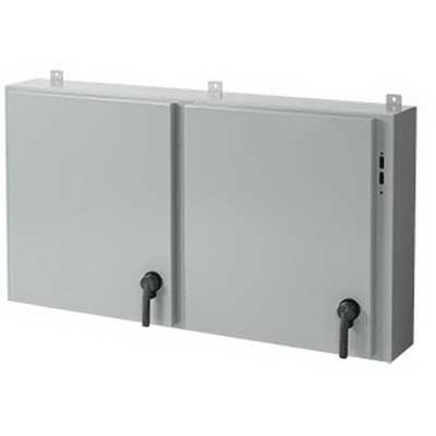 Hoffman Pentair A42X2E5408-JOB#880TG Double Door Disconnect Enclosure; 54.500 Inch Width x 8 Inch Depth x 42 Inch Height, 0.098 Inch Steel, ANSI 61 Gray, Wall Mount, Hinged Cover