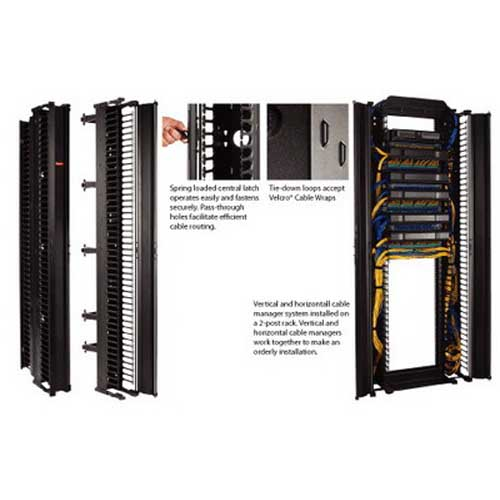 Hoffman DV6D7 CableTek™ Double-Sided Vertical Cable Manager; Rack Mount, 45-Rack Unit, Aluminum, RAL 9005 Black, Low-Gloss Light Textured Polyester Powder Paint