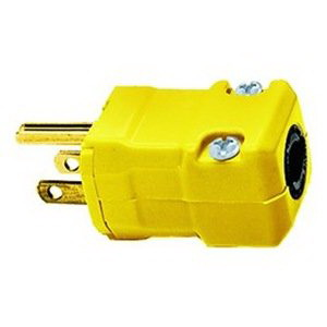 Hubbell Wiring HBL5966VBLK Valise® Grounding Straight Blade Plug; 2-Pole, 3-Wire, 15 Amp, 125 Volt, NEMA 5-15P, Cord Mount, Black