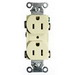 Hubbell Wiring CRF15LA Heavy Duty Specification Grade Straight Blade Duplex Receptacle; 2-Pole, 3-Wire, 15 Amp, 125 Volt, 5-15R NEMA, Screw Mount, Light Almond