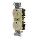 Hubbell Wiring BR20WHIWR Hubbell-Pro™ Traditional Specification Grade Weather Resistant Straight Blade Duplex Receptacle; 2-Pole, 3-Wire, 20 Amp, 125 Volt, 5-20R NEMA, Screw Mount, White