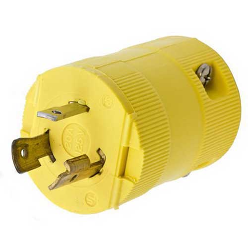 Hubbell Wiring HBL2311VY Twist-Lock Valise Locking Plug 2-Pole  3-Wire  20 Amp  125 Volt  NEMA L5-20P  Cord Mount  Yellow