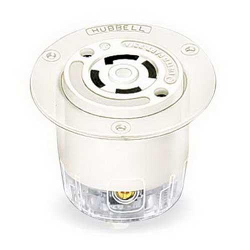 Hubbell Wiring HBL2366 Twist-Lock&reg Insulgrip&reg Standard Non-Grounding Flanged Receptacle 3-Pole  3-Wire  20 Amp  125/250 Volt AC  NEMA L10-20R  Screw Mount  White