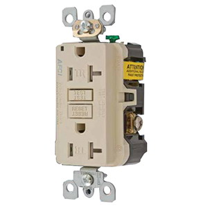 Hubbell Wiring AFR15TRLA Outlet Branch Circuit Arc Fault Receptacle; 120 Volt AC, 15 Amp, 2-Pole, 3-Wire, NEMA 5-15R, Light Almond