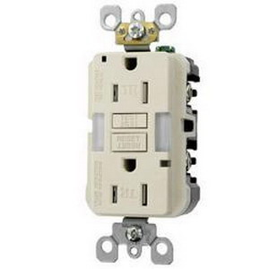 Hubbell Wiring AFR20TRI Outlet Branch Circuit Arc Fault Receptacle; 120 Volt AC, 20 Amp, 2-Pole, 3-Wire, NEMA 5-20R, Ivory