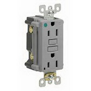 Hubbell Wiring AFR20TRGY Outlet Branch Circuit Arc Fault Receptacle; 120 Volt AC, 20 Amp, 2-Pole, 3-Wire, NEMA 5-20R, Gray