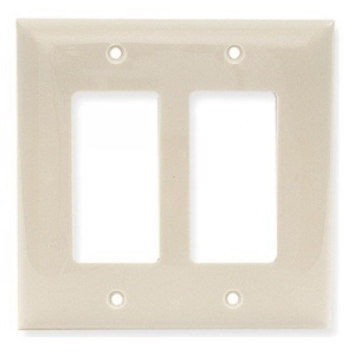 Hubbell Wiring PJ262 Style Line® 2-Gang Midway Size Wall Plate; 2-GFCI/Styleline, High Impact Nylon, Brass Screw Mount