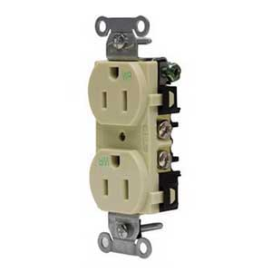 Hubbell Wiring BR20WR Hubbell-Pro™ Traditional Specification Grade Weather Resistant Straight Blade Duplex Receptacle; 2-Pole, 3-Wire, 20 Amp, 125 Volt, 5-20R NEMA, Screw Mount, Brown
