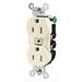 Hubbell Wiring CR20LA Heavy Duty Specification Grade Straight Blade Duplex Receptacle; 2-Pole, 3-Wire, 20 Amp, 125 Volt, 5-20R NEMA, Screw Mount, Light Almond