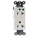 Hubbell Wiring IG2182WA SpikeShield® Style Line® Straight Blade Decorator Duplex Receptacle; 2-Pole, 3-Wire, 20 Amp, 125 Volt AC, 5-20R NEMA, Screw Mount, White, Isolated