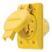 Hubbell Wiring 67W48H Twist-Lock® Watertight Locking Receptacle; 2-Pole, 3-Wire, 20 Amp, 250 Volt, L6-20R NEMA, Screw Mount, Yellow