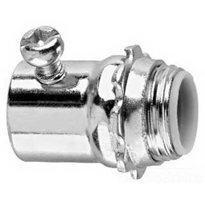 Midwest 1457 Insulated Straight Connector With Throat Insulated; 3 Inch, Set-Screw x NPSM, Steel