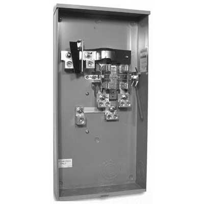 Milbank U1797-O-K3L-K2L-IL Ringless Lever Bypass Meter Socket; 600 Volt AC, 320 Amp Continuous, 1-Phase, Surface Mount