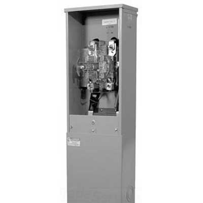 Milbank U4833-O-5T9 Ringless Lever Bypass Metered Pedestal; Upto 240 Volt AC, 200 Amp Continuous, 1-Phase, Steel, Pedestal Mount