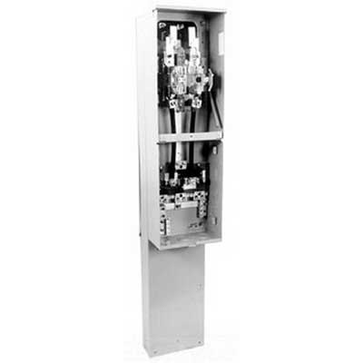 Milbank U4323-O-5T9 RL CB PROV TWIN Ringless Lever Bypass Meter Pedestal; 120/240 Volt AC, 200 Amp Continuous, 1-Phase, Pedestal Mount