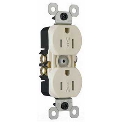 Pass & Seymour 3232-TRWRLA Weather-Resistant Straight Blade Duplex Receptacle; 2-Pole, 3-Wire, 15 Amp, 125 Volt, 5-15R NEMA, Wallplate Mount, Light Almond