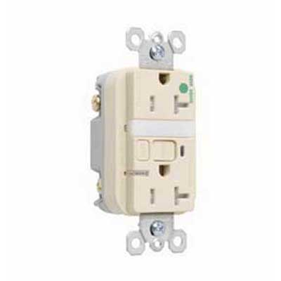 Pass & Seymour 2095-HGNTLTRI Combination Tamper Resistant Nightlight/GFCI Receptacle; 2-Pole, 20 Amp, 125 Volt, 5-20R NEMA, Screw Mount, Ivory