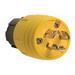 Pass & Seymour 24W-47 Turnlok® Watertight Plug; 2-Pole, 3-Wire, 15 Amp, 125 Volt AC, NEMA L5-15P, Yellow